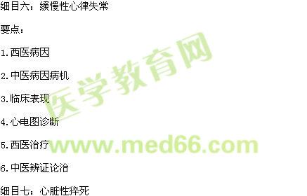 2015年中西医执业医师《中西医结合内科学》考试大纲