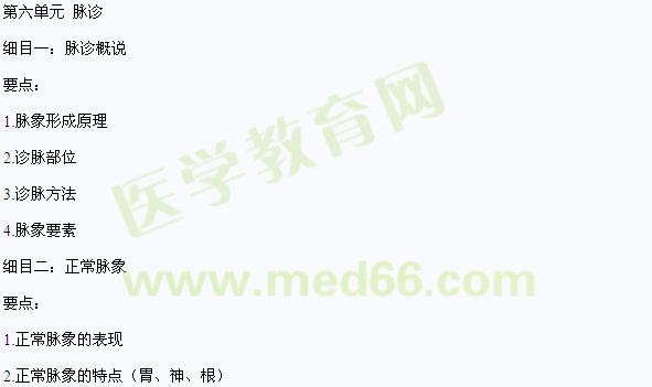 2013年中医助理医师《中医诊断学》考试大纲