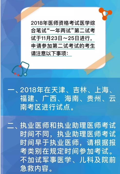 """2018年全国中医执业医师""""一年两试""""第二试考试地区及考试时间"""