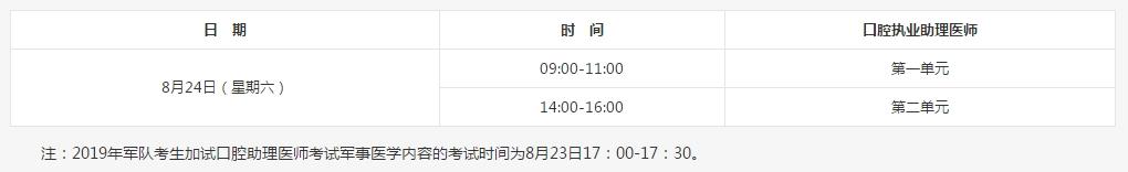 【西安】2019口腔执业助理考试时间安排及考试内容规定