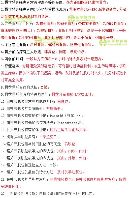 2019年临床执业医师笔试冲刺提分必背复习资料/口诀(七)
